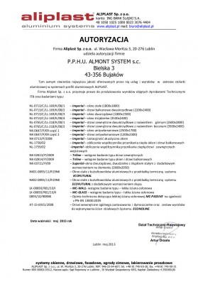 AUTORYZACJA  ALMONT aliplast